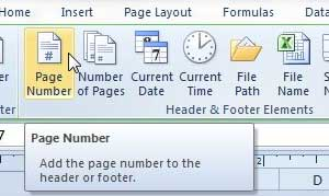 how to add page numbers in excel 2010