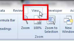 click the excel 2010 view tab