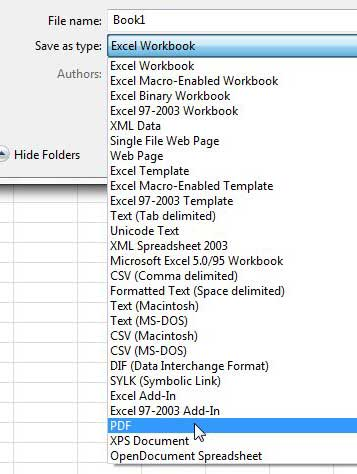 select the PDF option from the file type list