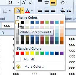 set the fill background to white in excel 2010