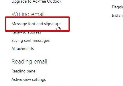 select the message font and signature option