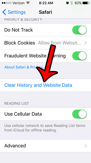 how to erase cookies on iphone