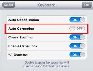 turn off the auto correction feature on the ipad 2