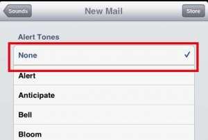turn off the ipad new mail notification sound