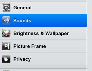 open the ipad 2 sounds menu