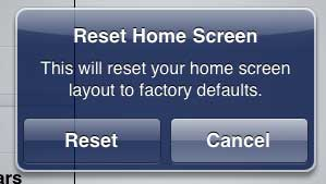 how to reset the home screen layout on the ipad 2