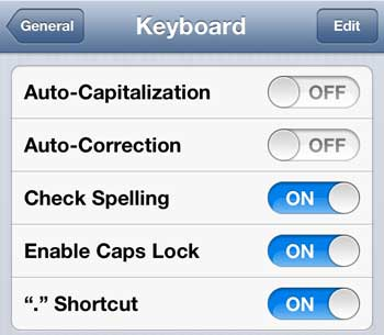 turn off the auto capitalization option on the iphone 5