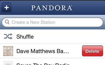 how to delete a pandora station on the iphone 5