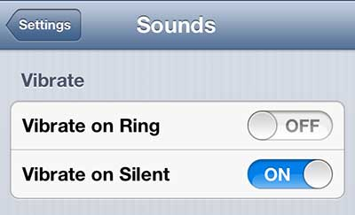 stop iphone 5 from vibrating when it rings
