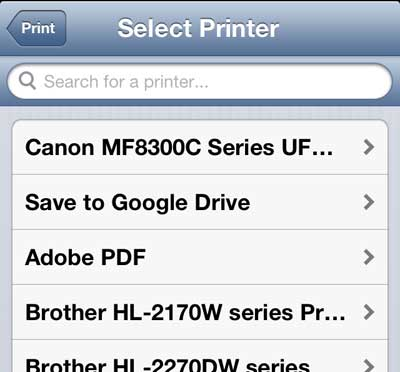 select the cloud print printer