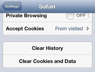 tap the clear cookies and data button
