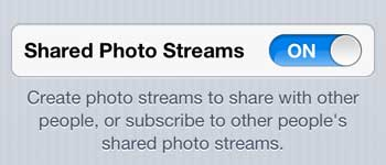 enable shared photo streams on the iphone 5