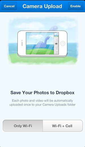 choose when dropbox should upload your pictures