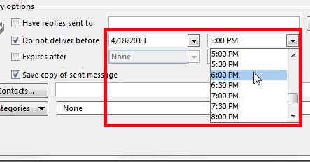 specify the date and time at which the email should be sent