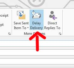 the delay delivery button will remain blue when an email is scheduled