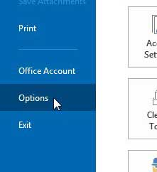 click options to open the outlook options window