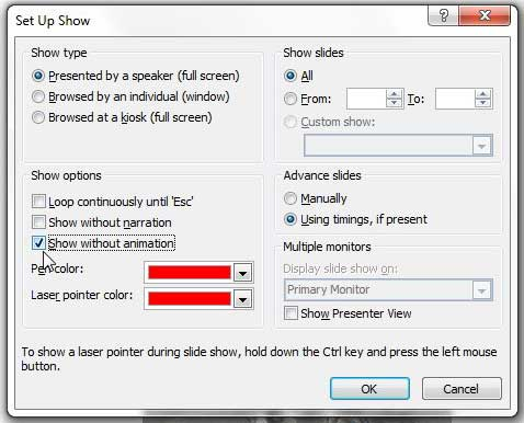 how to turn off animation in powerpoint 2010
