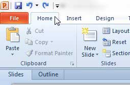 click the Home tab at the top of the window