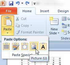 how to paste excel data as a picture into powerpoint 2010