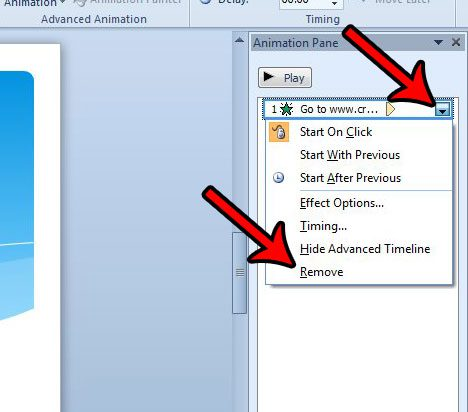 how to remove a single animation in Powerpoint 2010