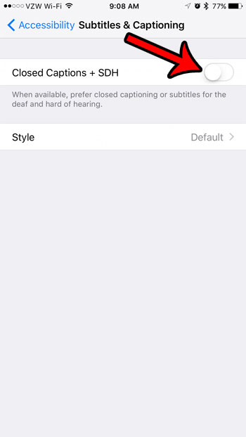 turn off subtitles and captioning through iphone settings