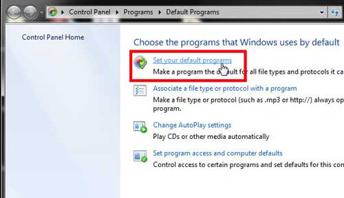 click the set default programs option