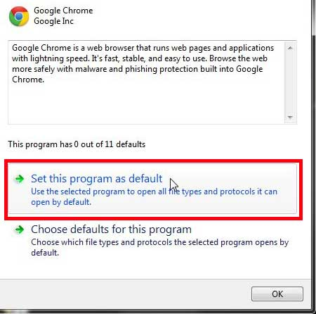 set chrome as default browser in windows 7