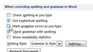 turn off the spell check feature in word 2010