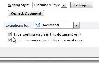 turn off spell check for only the current document