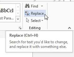 click the replace button