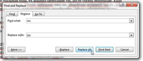 how to replace word occurrences in word 2013