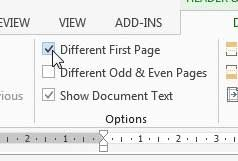 click the different first page option