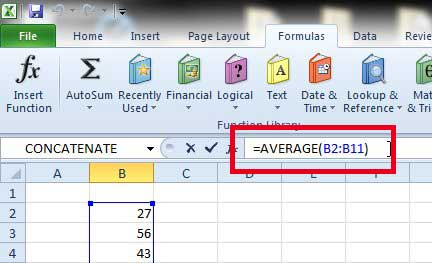 how to calculate average in Excel 2010