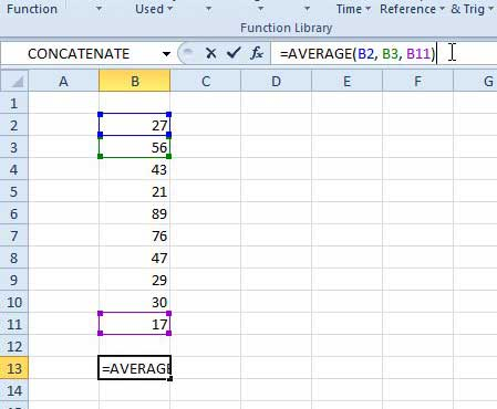 other options for using the average formula in excel 2010