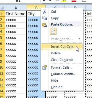 how to move a column in Excel 2010