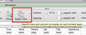how to repeat rows at the top of every page in excel 2011