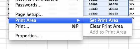 how to set the print area in excel 2011