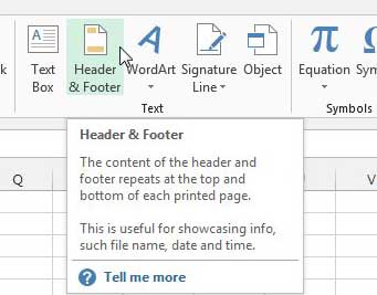 how to insert a header in excel 2013