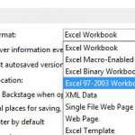how to save as .xls by default in Excel 2013