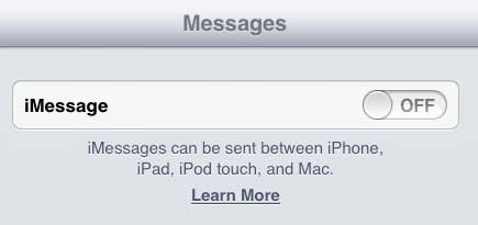 how to enable imessage on the ipad 2