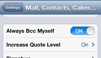 how to automatically bcc yourself on emails on the iphone 5