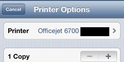 touch the printer button