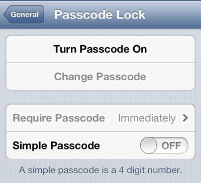 turn on the passcode