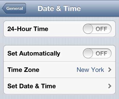 select the time zone option