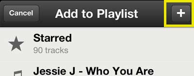 touch the + button to create a new playlist
