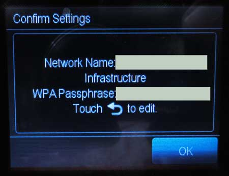 confirm the network name and password