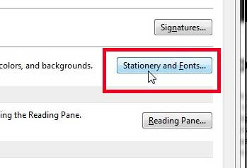 click the stationery and fonts button