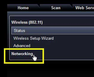 select the networking option
