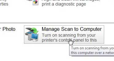 select the manage scan to computer option