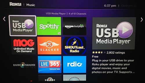 select the roku usb media player channel